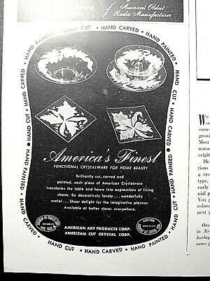1947 AMERICAN Art Products Cut Crystal GLASS Flower Plates & Bowls FINEST! Ad