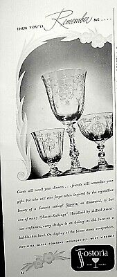 """1947 FOSTORIA GLASS Crystal """"Navarre"""" Goblet Sherbet Dainty as Old Lace Desgn Ad"""