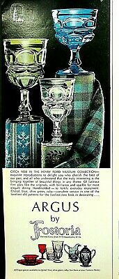 """1967 FOSTORIA GLASS Crystal Blue Olive Green Ruby """"ARGUS"""" Pattern Goblets C/S Ad"""