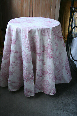 Round tablecloth cotton, French toile de jouy, about 60 inches diameter
