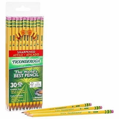 TICONDEROGA Pencils Wood-Cased #2 HB Soft Pre-Sharpened with Eraser Yellow 6-...