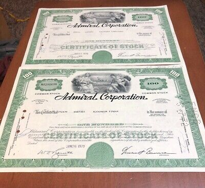 2 Admiral Corporation Stock Certificate 100 Shares 1970