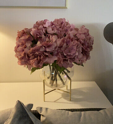 43 Pink Hydrangea Flowers Artifical Fake Stems Bouquet