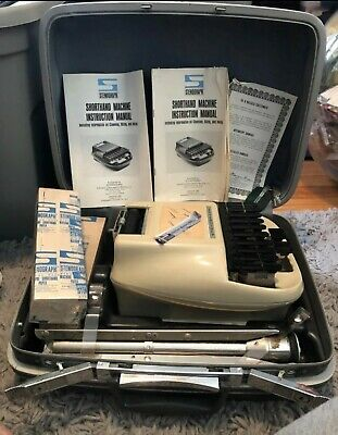Vintage Stenograph Machine - Tripod, Manuel, Keys, Ribbon, Hard Case Shorthand