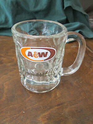 "AW A & W ROOT BEER Vintage GLASS MUG4 1/4"" tall"