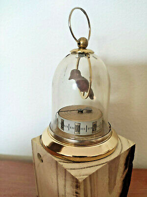 RARE Vtg Bird In Cage Thermometer Dome w Brass French France Desk Vanity Decor