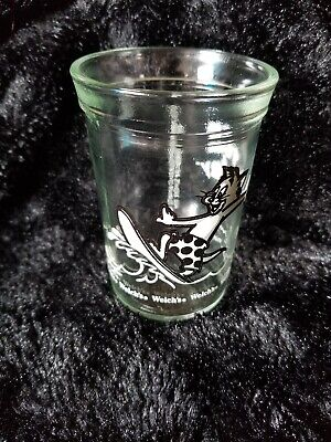 "Welch's Jelly Tom and Jerry Juice Jelly Glass 1990 Tom Surfing 4"" Tall Vintage"