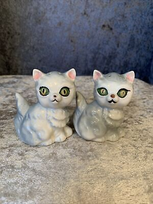 Vintage Gray Kittens (Cats) with Big Green Eyes Salt and Pepper Shakers, Japan