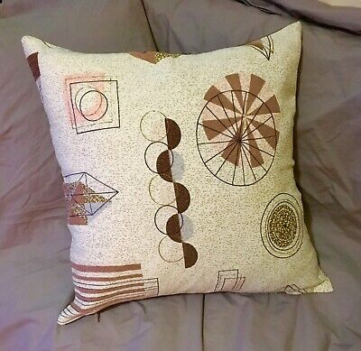 1 Vintage Pink Brown Atomic Barkcloth Fabric Cushion Cover Suede Reverse 18x18""