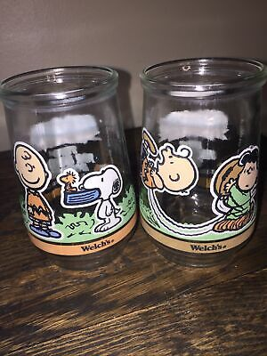 Lot Of 2 Welch's Peanuts Jelly Jar Glass #4&6 Charlie Brown Snoopy, Lucy Charlie