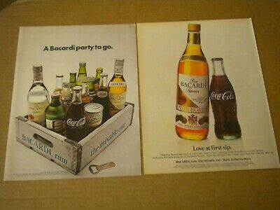 2  Bacardi Rum Ads  Love at first sip - A Bacardi party to go Coke-Pepsi -7up-