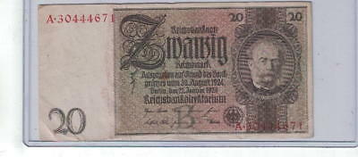1929 German 20 Reichsmark Note -- Good Circulated Condition -- See Pics - NR V2