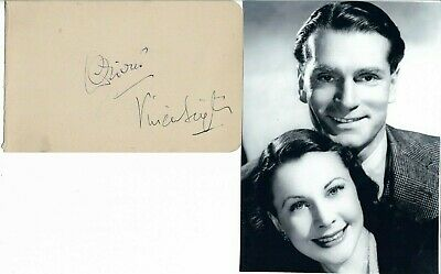 Vivien Leigh And Laurence Olivier Signed Autograph Book Page Great Lovers Coa