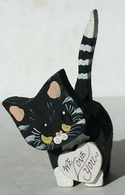 "Cat-Kitten Figurine Black Cat Long Tail Wooden ""We Love You"" Heart Hand Painted"