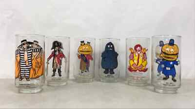 6 Vintage 1977 McDonald's Collector's Series Glass Tumblers- Complete Set
