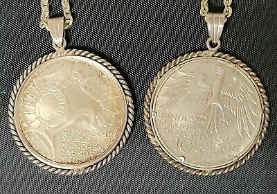 """2 - 1972 Olympic Munchen 10 D.mark D & F Coin Pendants W/ 15"""" .925 Chains"""