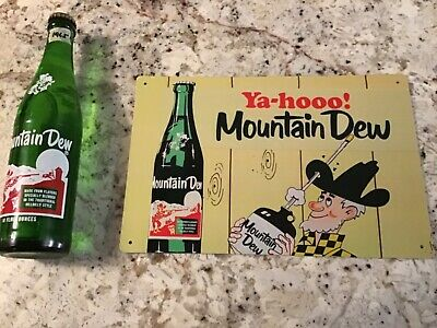 Vintage HillBilly Mountain Dew Bottle  and Beautiful Retro Sign