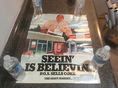 Vintage 1981 Coca Cola Training Poster New Old Stock Seeing is Believing