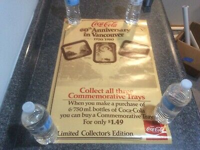 Vintage 1980 Coca Cola Poster New Old Stock Vancouver Trays