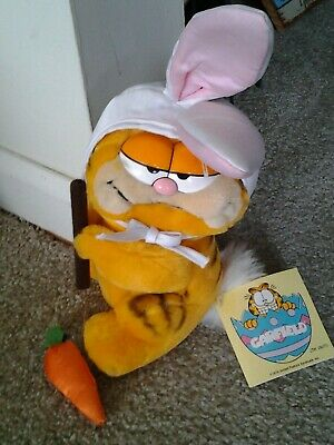 "DAKIN 1980's era GARFIELD AS EASTER BUNNY with Carrot 9"" Plush Doll original tag"