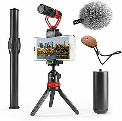 Movo VXR10+ Smartphone Video Rig with Mini Tripod Phone Grip and Video Microp...