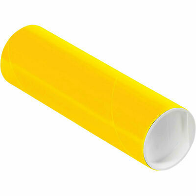 """Mailing Tube With Cap, 6""""L x 2"""" Dia., Yellow"""