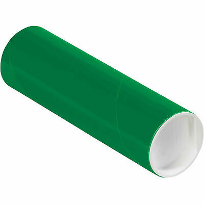 """Mailing Tube With Cap, 6""""L x 2"""" Dia., Green"""