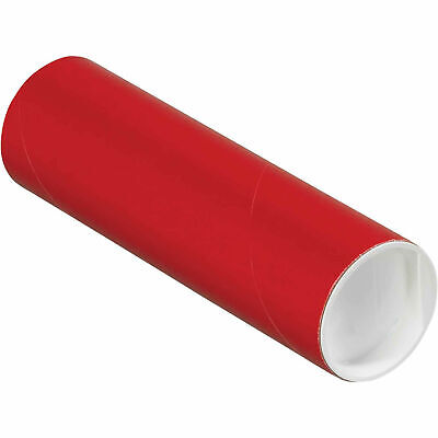"""Mailing Tube With Cap, 6""""L x 2"""" Dia., Red"""