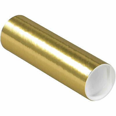 """Mailing Tube With Cap, 6""""L x 2"""" Dia., Gold"""