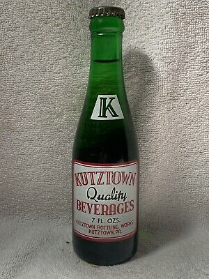 FULL 7oz KUTZTOWN BOTTLING WORKS LEMON SOUR SODA ACL SODA BOTTLE KUTZTOWN, PA