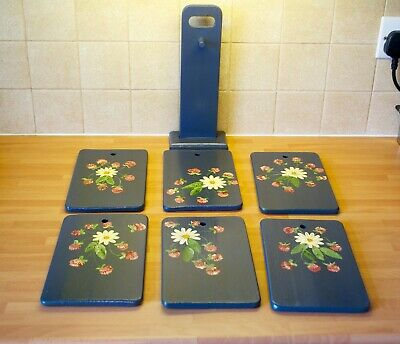 Vintage Norwegian Rosemaling Side Plates Wooden Platters & Stand Daisy & Clovers
