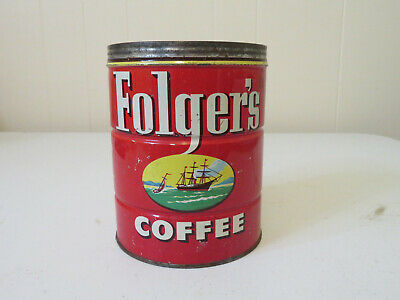 Vintage Folger's Coffee Can  Copyright 1952