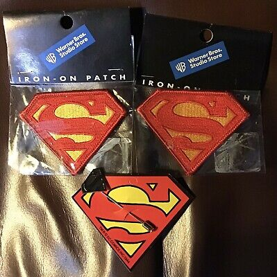 Superman Stick Pin Lapel & 2 Iron On Patches Warner Brothers Store Morale