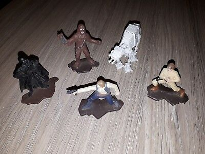 5 Star Wars Figures Darth Vader Han Solo Luke Skywalker Chewbacca AT-AT