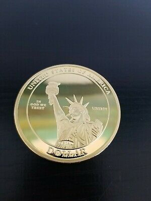 Statue Of Liberty Abraham Lincoln Large Gold Proof Commemorative Coin Beautiful