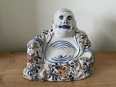 Extremely rare 18thC Dutch Delft Chinese buddha polychrome Johannes Van Duijn
