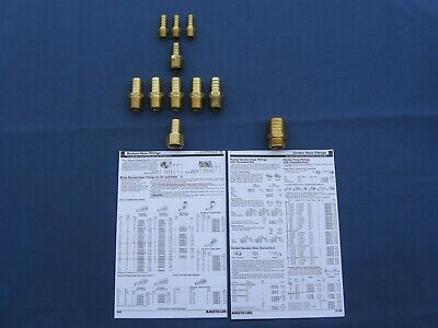 Solid-Brass Barbed Hose Fittings, 5 - Sizes, Qty. = 11 Pieces