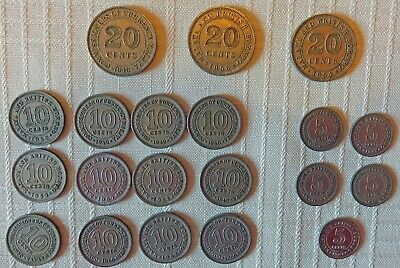 """Malaya and British Borneo Coins Lot of 20 1940's & 50""""s  20, 10 and 5 Cents"""
