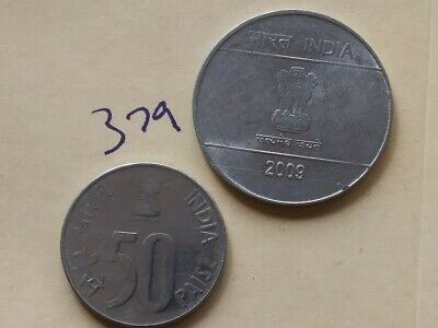 1999 India 50 paise coin; 2009 India 2 rupee; circulated; uncertified