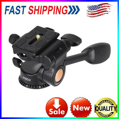 Andoer Q08 Video Tripod Ball Head 3-way Fluid Head with Quick Release Plate N1E3