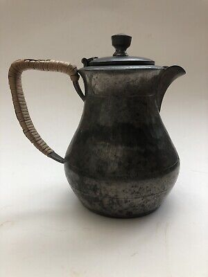 Artistic Pewter Teapot Hammered With Reeded Handle