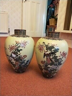 large pair of Chinese /Japanese antique  cloisonne vases