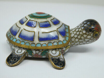 Vintage Chinese Cloisonne Tortoise Turtle Lidded Pill Box