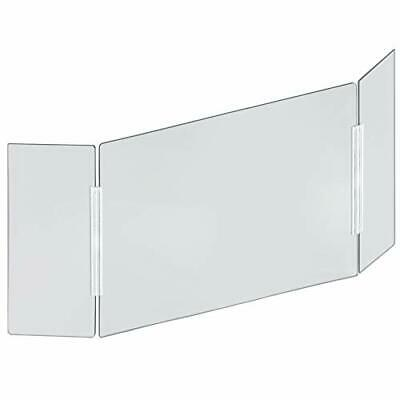 Azar Displays Tri-Fold Protective Sneeze Guard for Counter and Desk - Portabl...