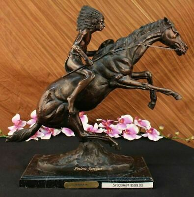 Indian Warrior Fine American Bronze Collectible Statue by F. Remington Medium NR