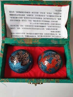Hand Exercise - Chinese Dragon🐲Cloisonne  Musical Boading Balls In Box - NEW