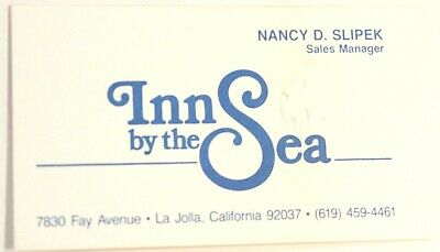 Inn By The Sea Hotel Vintage Business Card La Jolla California