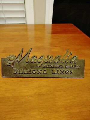 Vintage Solid Brass Magnolia Diamond Rings Store Display Sign