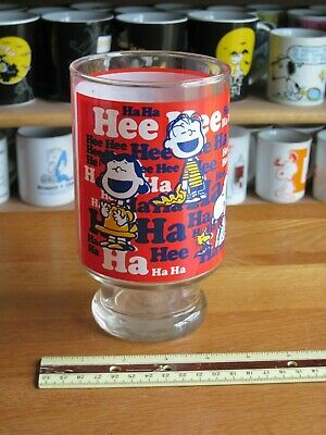 """Snoopy / Peanuts  Large Glass Or Vace 7 """" Tall Ha Hee"""