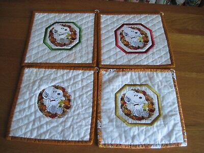 """Snoopy / Peanuts  Hot Pads Hand Made Embroidered 8"""" X 8"""" Lot Of 4"""